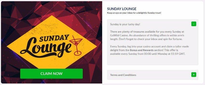 GoWild Casino special offer bonus on Sunday details