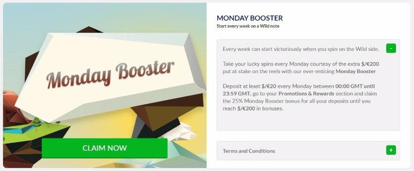 Gowild Casino Reload Bonus on Mondays details