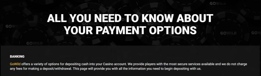 Go wild casino Australia - payment option